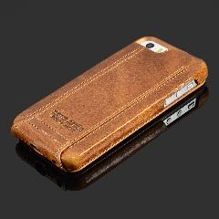 "Pierre Cardin Brown Genuine Leather Case Para Apple Iphone Se/5/5S 6/6 S 4.7 ""6/6 S Plus 5.5"" Cobrir A Pele Virar Case Open Up And Down"