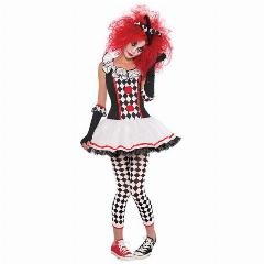 S-Xxl New Mel Adolescentes Joker Harley Quinn Clown Circus Traje Horror Fantasmas Halloween Cosplay Fancy Dress Adulto Mulheres