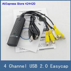 Usb 2.0 Easycap 4 Canal, 4Ch Dvr Cctv Camera Audio Capture Adaptador De Vídeo Recorder, Para Pc Laptop Windows Xp