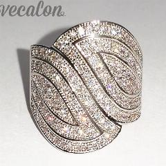 Vecalon Moda Pave Definir 140 Pcs Aaaaa Zircon Cz Engagement Wedding Band Anel Para Mulheres 10Kt White Gold Filled Dedo Anel