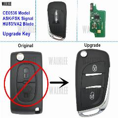 Walklee Upgrade Remoto Chave 433 Mhz Terno Para Peugeot C2/c3/c4/c5/berlingo/picasso Com Chip De Pcf7961 (Ce0536 Hu83/va2 Ask/fsk)