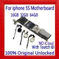 100% Original Desbloqueado Para Iphone 5S Motherboard Sem Toque Id/com Toque Id, Para Iphone 5S Placas Lógicas, 16 Gb/32 Gb/64 Gb