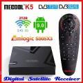 Mecool k5 amlogic s905x3 smart tv box android 9.0 quad core 4k media player receptor de satélite 2.4 & 5g 2t2r duplo wifi conjunto caixa superior